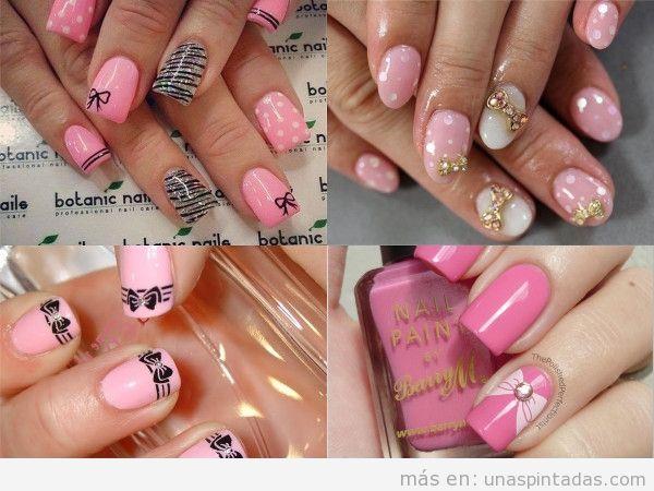 Uñas con lazos rosas