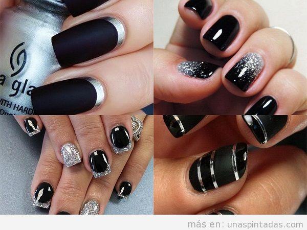 Uñas pintadas de negro: decoraciones oscuras y elegantes