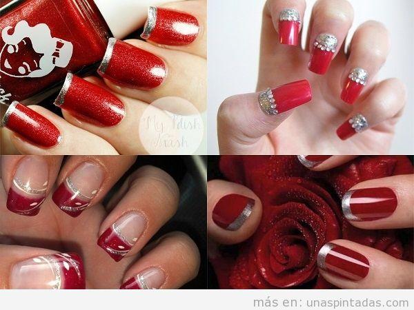 Uñas plateadas con rojo