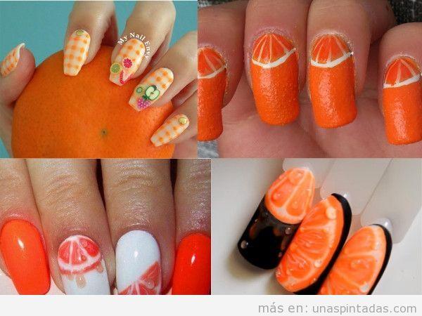 Uñas postizas decoradas con naranjas