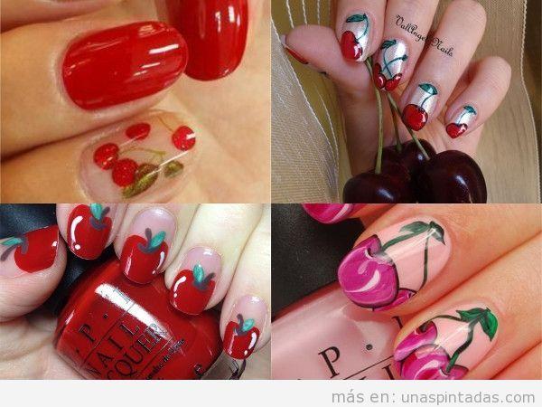 Uñas pintadas redondas decoradas con cerezas