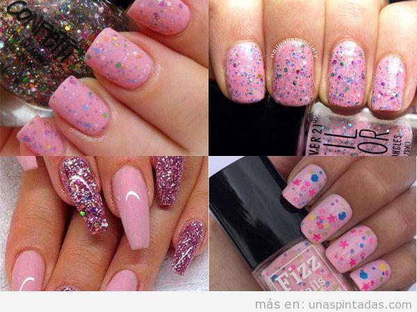 Uñas con confeti en rosa
