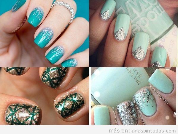 Uñas verdes plateadas