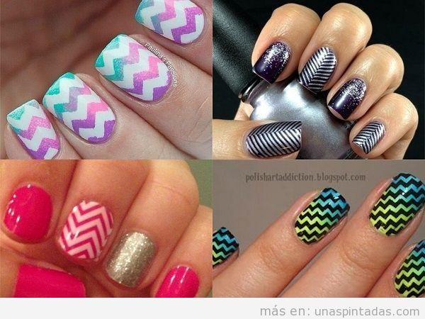 Varios modelos de uñas con zig zag