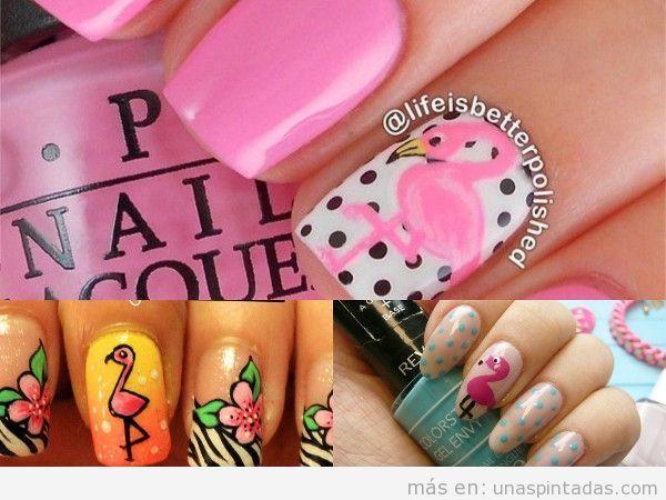 Varios diseños de uñas decoradas con flamencos