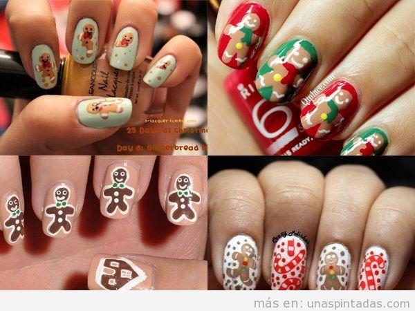 Uñas de Navidad con dibujo de galleta de jengibre
