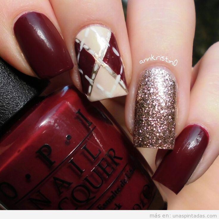 Decoración de uñas de otoño estampado rombos