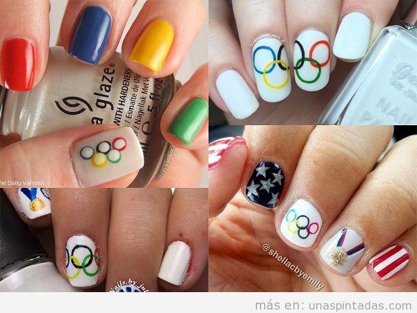 Decoraciones de uñas de deportes: Juegos Olímpicos, países, Madrid, Barça y más!