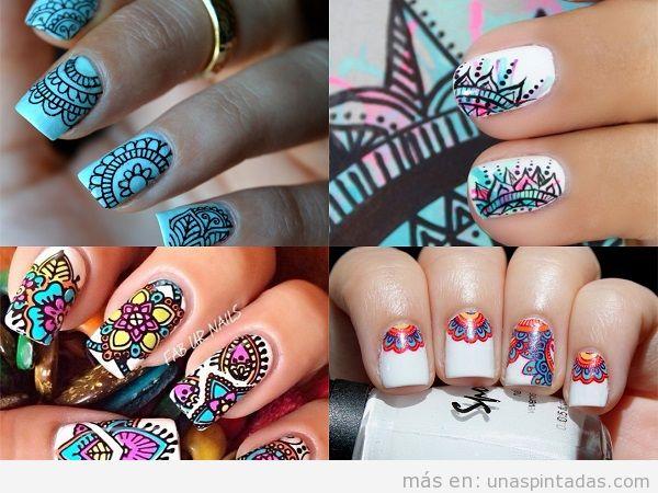 Decoraciones de uñas con estampado de mandala