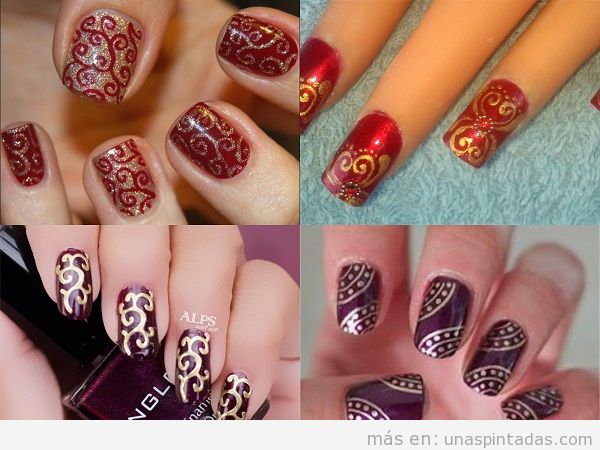 Decoraciones de uñas con estampado de brocado indio