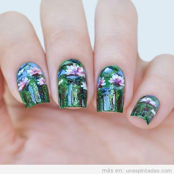 Decoración de uñas inspirada en un cuadro de Monet