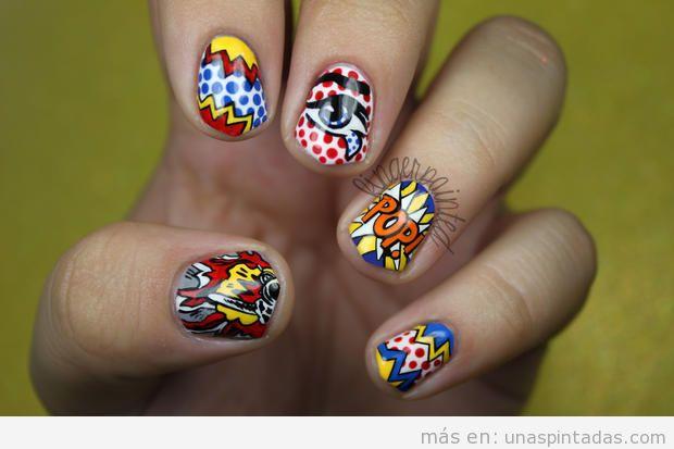 Decoración de uñas inspirada en un cuadro de Roy Lichtenstein