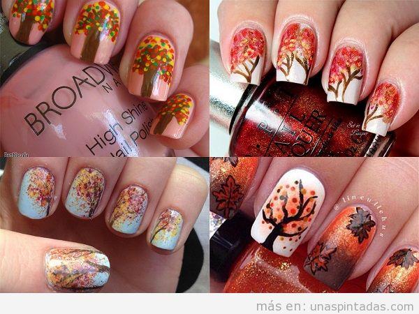 Decoración de uñas de otoño dibujo árboles