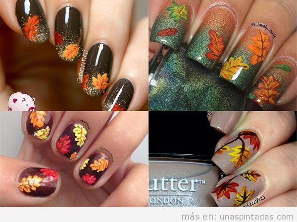 Decoración de uñas de otoño dibujo hojas