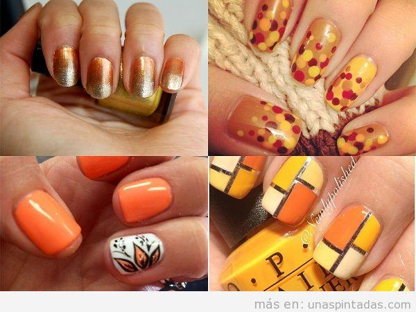 Decoración de uñas de otoño color naranja