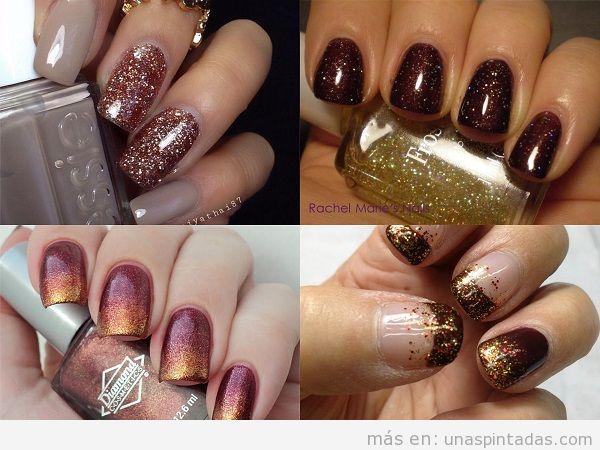 Decoración de uñas de otoño color marrón