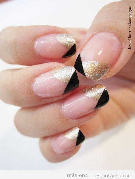 Decoración de uñas negro, rosa y dorado
