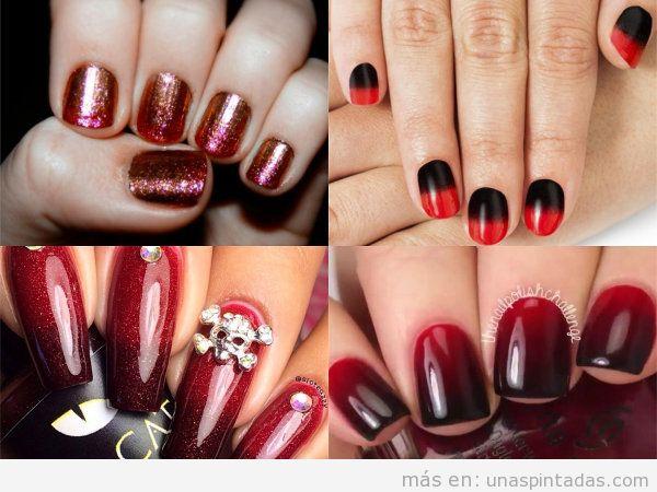 Uñas rojas degradadas