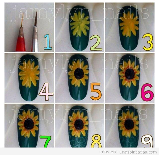 Tutorial para dibujar un girasol en las uñas
