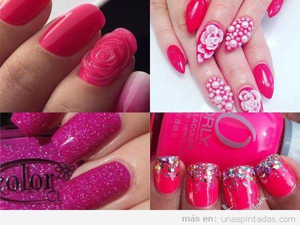 Uñas pintadas para los 15 años color rosa fucsia