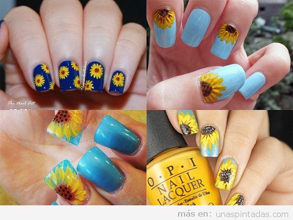 Uñas pintadas con girasoles