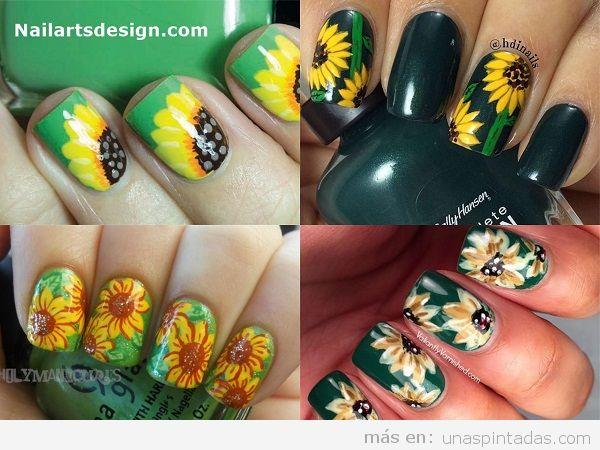 Uñas pintadas con girasoles 3