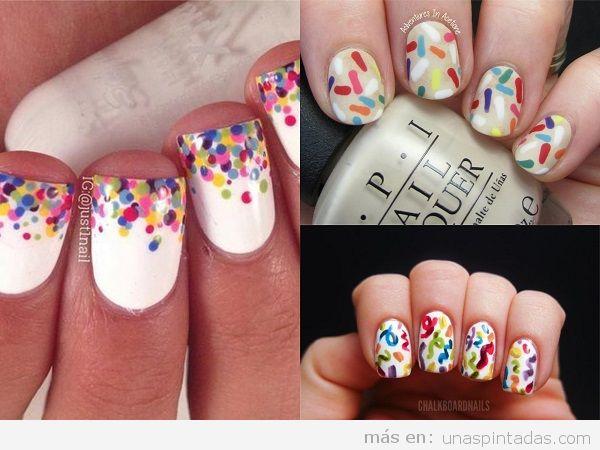 Uñas pintadas para cumpleaños con confeti