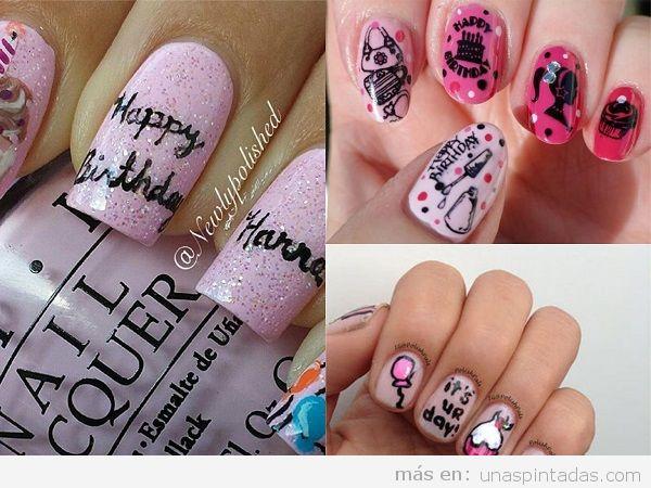 Uñas pintadas para cumpleaños con felicitaciones