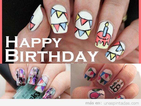 Uñas pintadas para cumpleaños con guirnaldas