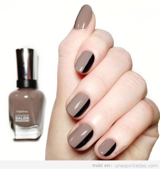 Diseño uñas otoño 2017 raya negra