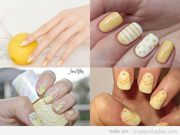 Uñas pintadas amarillas para primavera