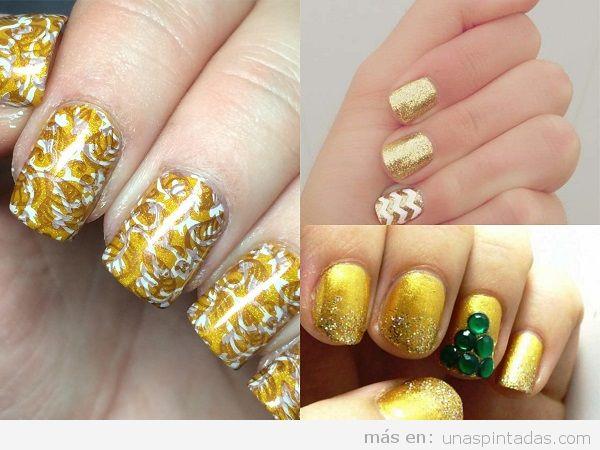 Uñas pintadas amarillas doradas para invierno y Navidad
