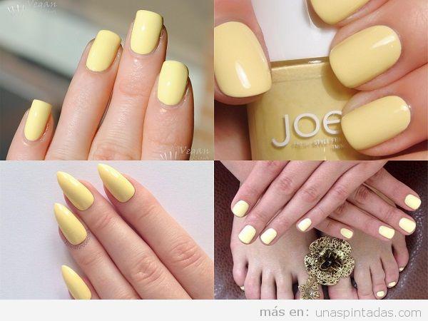 Uñas pintadas amarillas pastel para primavera
