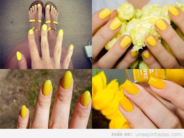 Uñas pintadas amarillas para verano