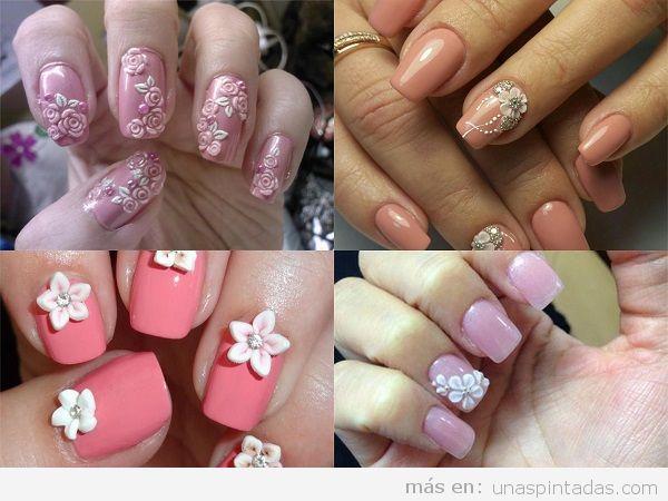 Uñas decoradas con flores 3D rosas