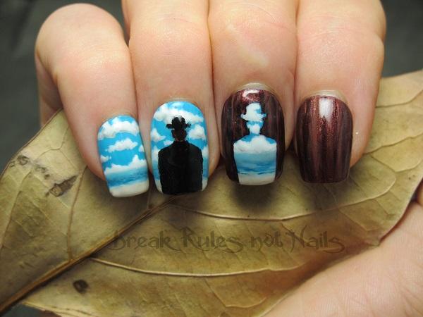 Diseño uñas surrealistas Magritte