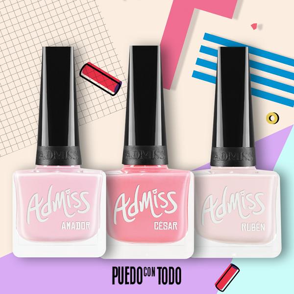 Esmaltes Admiss colores rosa claro